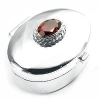 PillBox Sterling Silver Red Glass Classic Oval Pill Box - Silver Insanity