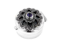 Genuine Marcasite w/ Purple Glass Flower Pill Box Sterling Silver - Silver Insanity