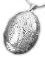 "Huge Sterling Silver Near 2"" Large Oval Locket Pendant - Silver Insanity"