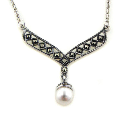 Sterling Silver Marcasite and Simulated Pearl Drop Necklace - Silver Insanity