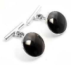 Sterling Silver Black Agate Chain and Bar Cufflinks - Silver Insanity