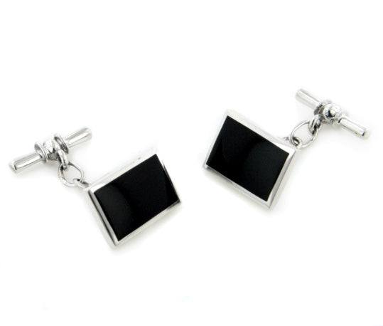 Sterling Silver Rectangular Black Agate Inlay Chain and Bar Cufflinks - Silver Insanity