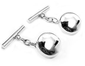 Classic Sterling Silver Round Disc Chain and Bar Cufflinks - Silver Insanity