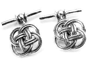Sterling Silver Celtic Knotwork Chain and Bar Cufflinks