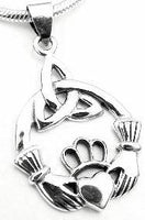 Claddagh and Trinity Celtic Knot Pendant Sterling Silver - Silver Insanity