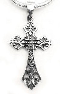 Sterling Silver Celtic Filigree Cross Pendant or Charm - Silver Insanity