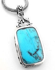Simulated Turquoise Blue Lapis Reversible Sterling Silver Pendant