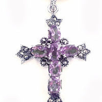 Sterling Silver Purple Glass and Marcasite Cross Pendant - Silver Insanity