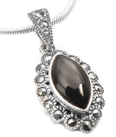 Sterling Silver Marcasite and Black Stone Flower Pendant - Silver Insanity