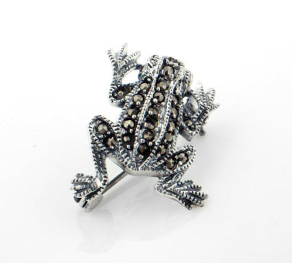 Sterling Silver Marcasite Frog Lapel Pin or Brooch