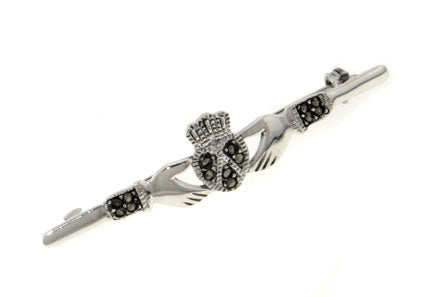 Sterling Silver Genuine Marcasite Celtic Claddagh Bar Pin or Brooch - Silver Insanity