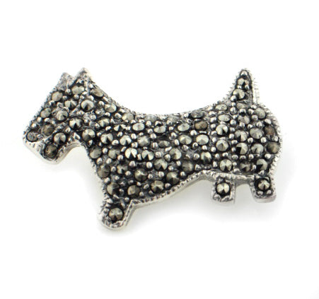 Sterling Silver Marcasite Scottish Terrier Dog Brooch - Silver Insanity