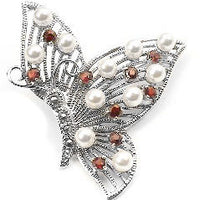 Sterling Silver Butterfly Pin Brooch w/ Red Glass and Simulated Pearl - Silver Insanity