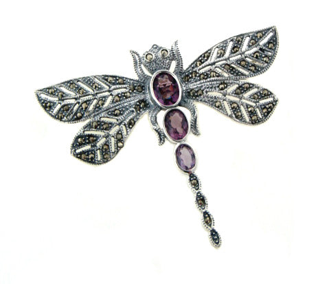 Sterling Silver Marcasite Dragonfly Pin Brooch w/ Purple Glass