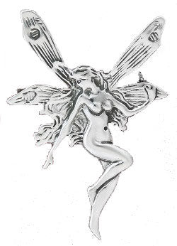 Sterling Silver Large Detailed Fairy Faery Pin Brooch