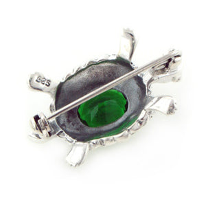 Sterling Silver Marcasite Turtle Green Brooch Pin - Silver Insanity