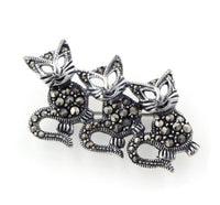 Cat Sterling Silver Marcasite Dancing Kitten Pin Brooch - Silver Insanity