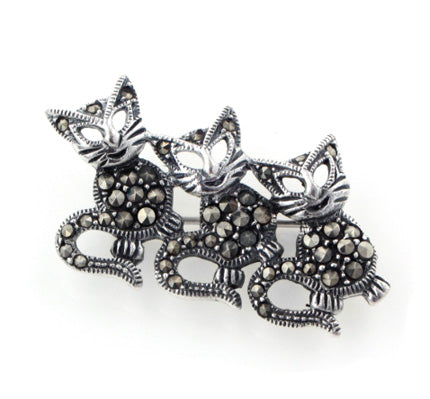 Cat Sterling Silver Marcasite Dancing Kitten Pin Brooch