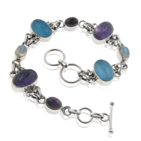 "Sterling Silver 8"" Amethyst, Rainbow Moonstone, Blue Chalcedony Toggle Bracelet"