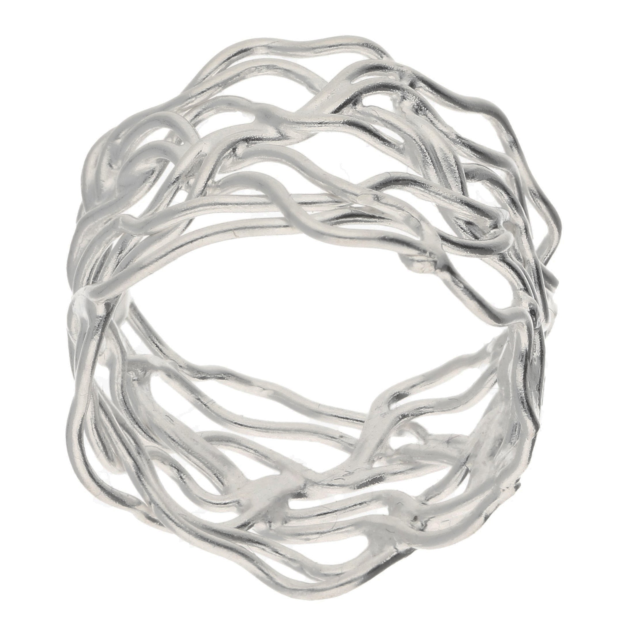 Unique Filigree Wirework Wide Band Sterling Silver Ring - Silver Insanity