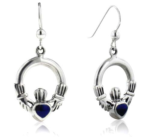 Irish Celtic Claddagh Hearts with Blue Stone Inlay Sterling Silver Hook Earrings - Silver Insanity