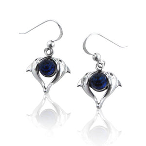 Heart Shaped Double Dolphin on Bermuda Blue Crystal Sterling Silver Hook Earrings - Silver Insanity
