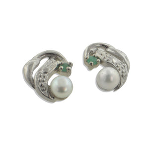 Small Studs Emerald and Pearl Sterling Silver Earrings - Silver Insanity