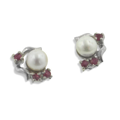 Platinum Plated Small Ruby Pearl Sterling Silver Stud Earrings - Silver Insanity
