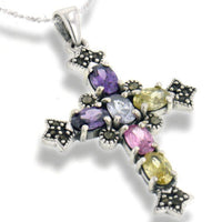 "Multicolor CZ and Marcasite Cross Sterling Silver Pendant and 18"" Chain Necklace - Silver Insanity"