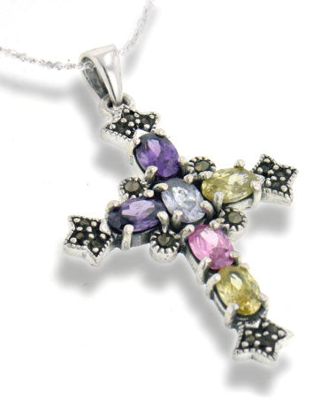 Multicolor CZ and Marcasite Cross Sterling Silver Pendant and 18