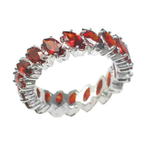 Sterling Silver Simulated Garnet Red CZ Eternity Band Ring