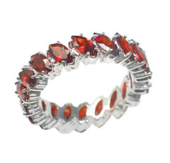 Sterling Silver Simulated Garnet Red CZ Eternity Band Ring - Silver Insanity