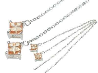 Sterling Silver Champagne CZ Threader Chain Earrings - Silver Insanity