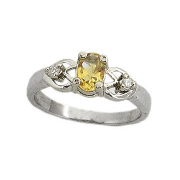 Platinum over Sterling Silver Genuine Citrine Oval Anti-Tarnish Ring
