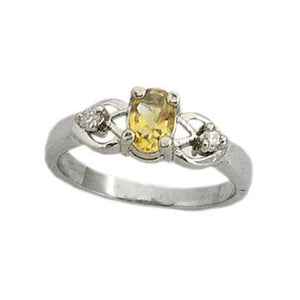 Platinum over Sterling Silver Genuine Citrine Oval Anti-Tarnish Ring - Silver Insanity