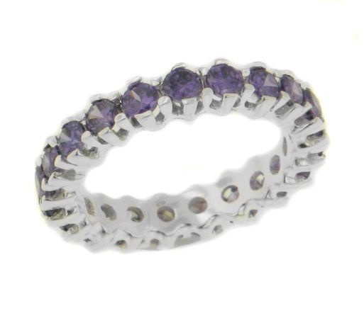 Sterling Silver Simulated Amethyst Purple CZ Eternity Band Ring - Silver Insanity