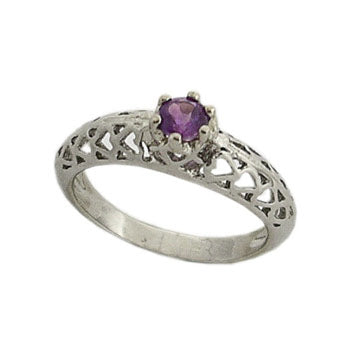 Platinum over Sterling Silver Genuine Amethyst Heart Cut-Out Ring