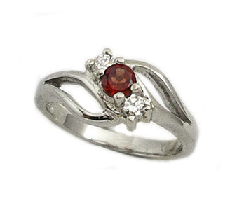 Platinum on Sterling Silver Genuine Garnet Ring