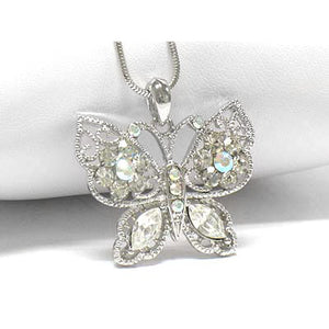 "Butterfly AB Crystals White Gold Plated Pendant 16"" Necklace - Silver Insanity"