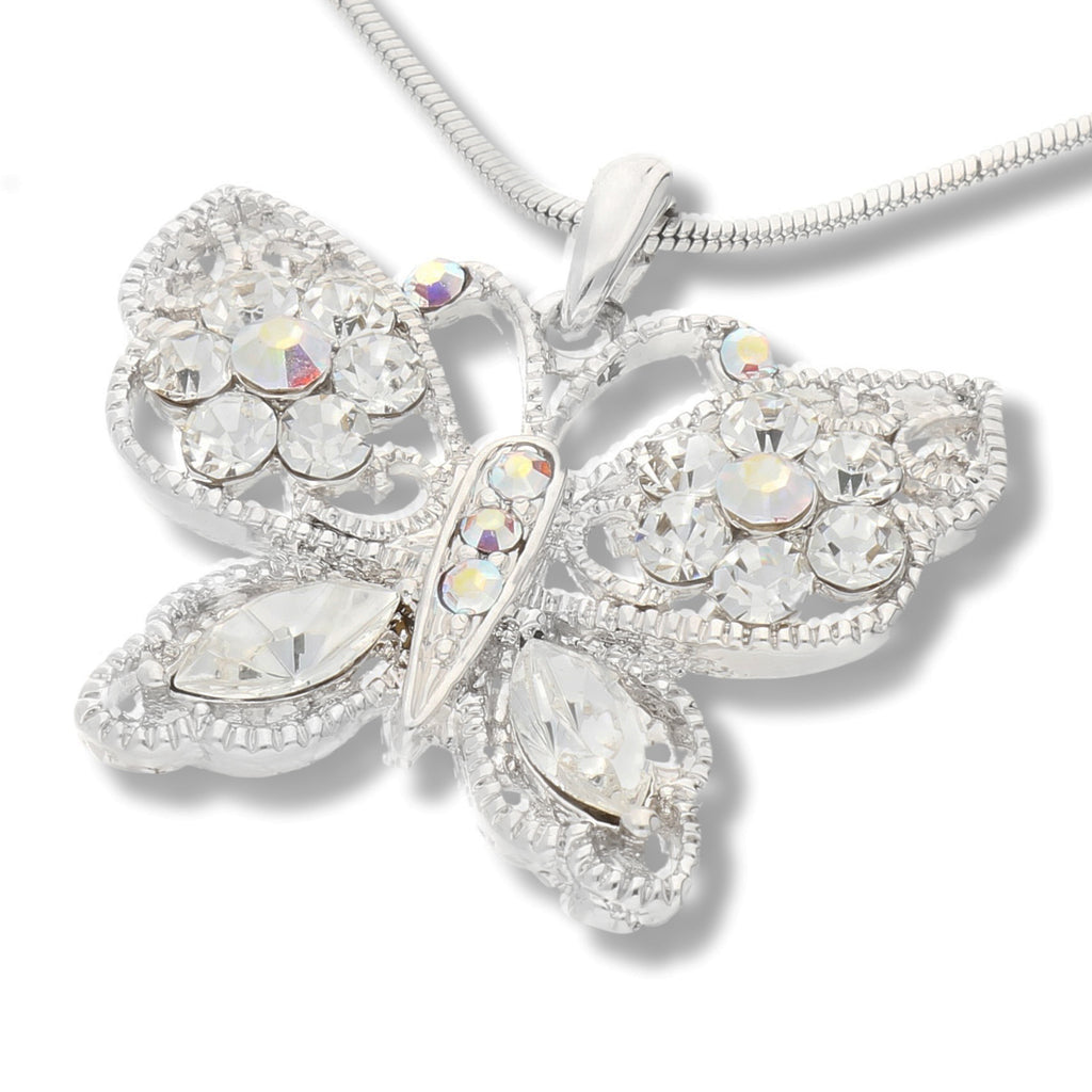 "Butterfly AB Crystals White Gold Plated Pendant 16"" Necklace"