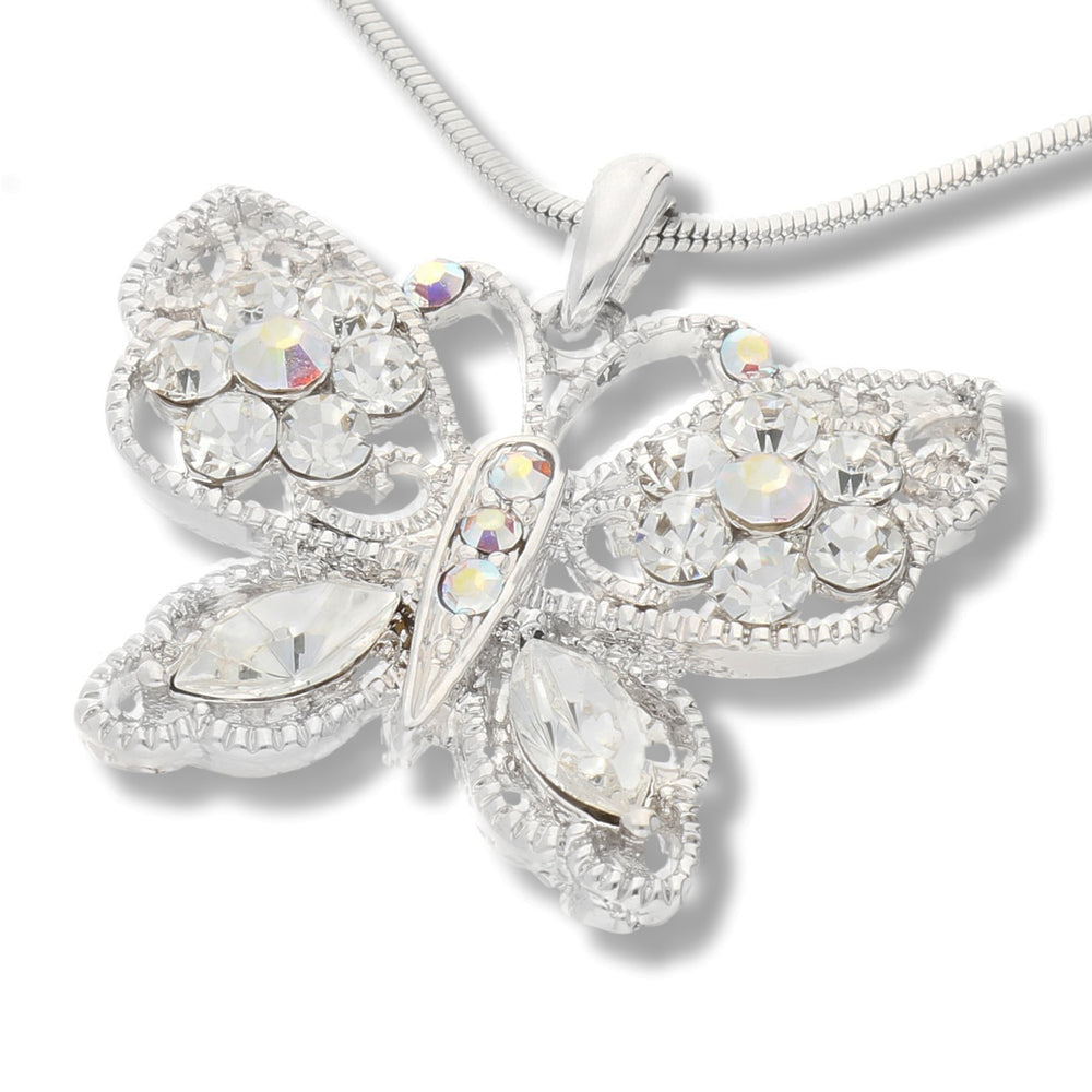 Butterfly AB Crystals White Gold Plated Pendant 16