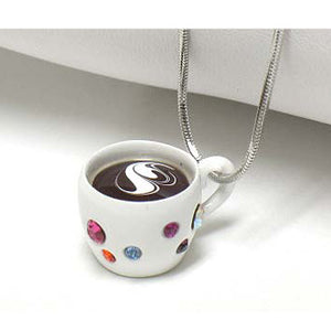 "Hot Coffee Polka Dot Crystal Set Mug Cup Pendant 16"" Necklace - Silver Insanity"