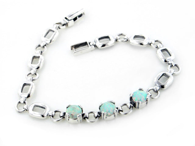 Sterling Silver 3-Stone Created White Opal Link Bracelet 7""