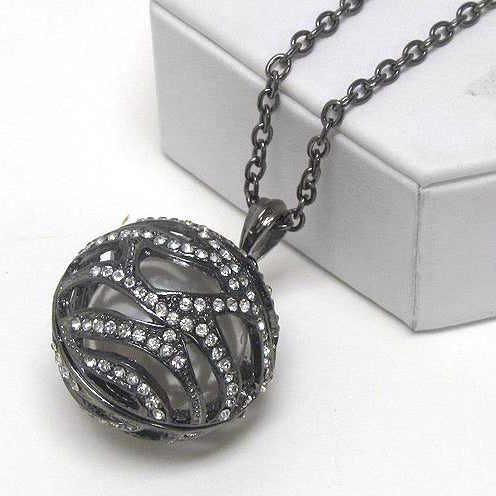 Winter Ball Pendant with Antiqued Silvertone Adjustable Chain Necklace - Silver Insanity