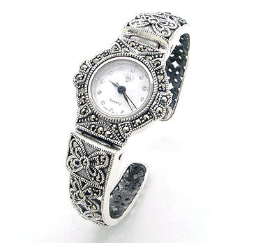 Hinged Marcasite Sterling Silver Cuff Watch Bracelet - Silver Insanity