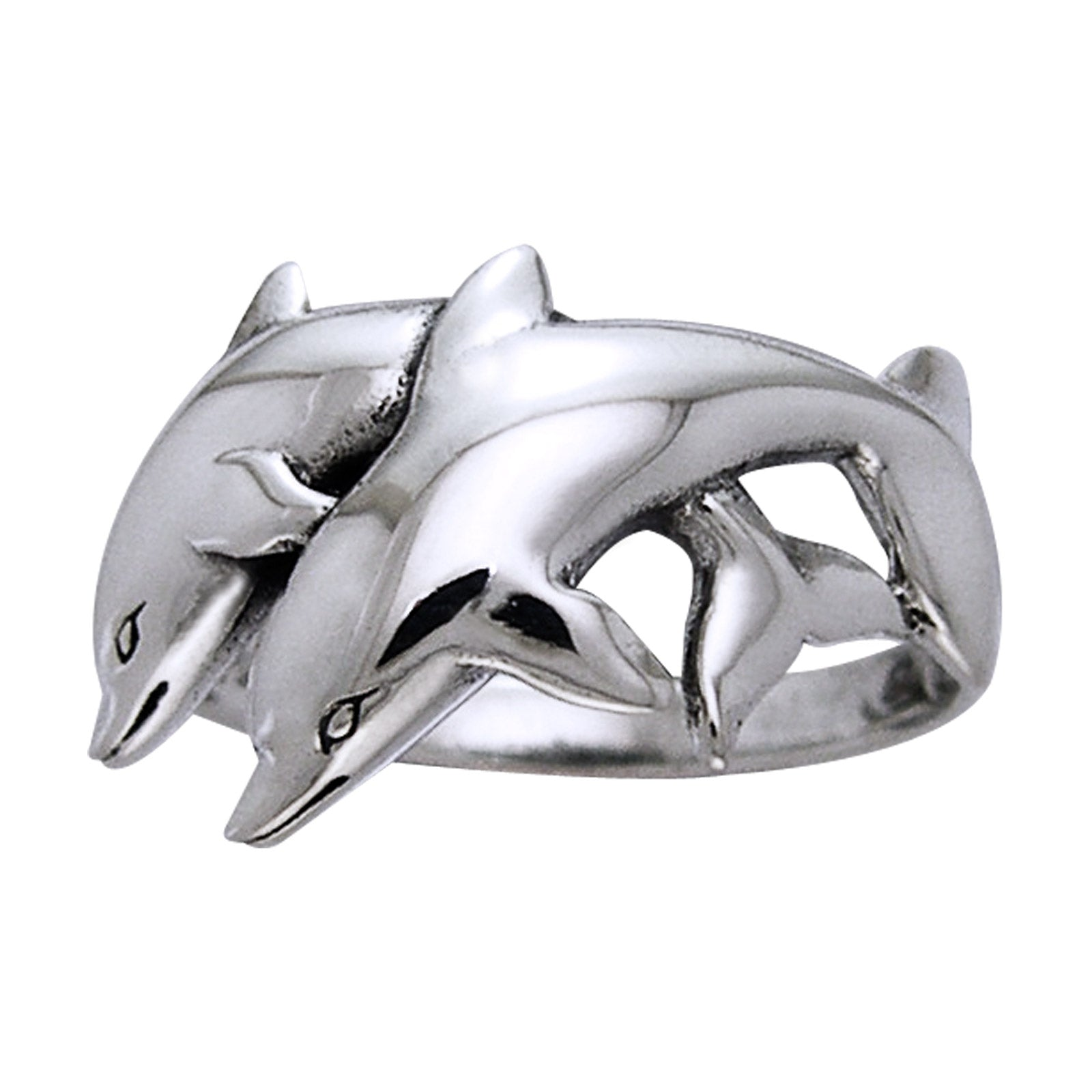 Sterling Silver Playing Twin Dolphins Ocean Nautical Ring - Silver Insanity