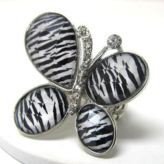 Zebra Stripe Animal Print Butterfly with Crystals Silvertone Stretch Ring - Silver Insanity