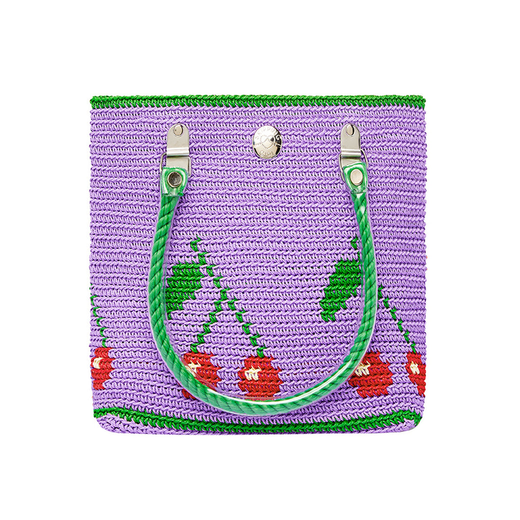 Purple Cherries Mini Tote Bag