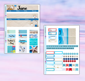 June Planner Stickers | Erin Condren | Monthly Kit | Printable