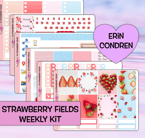 Strawberry Fields Planner Stickers | Erin Condren | Weekly Kit